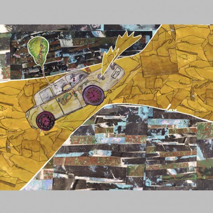 """Collage analógico y digital inspirado en la película de los Beatles """"Yellow submarine """""""